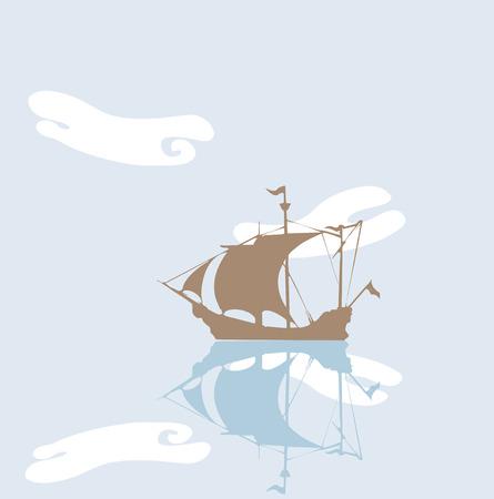 tide: Barco pirata anclado en un d�a muy tranquilo. Vectores