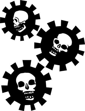 Three Skulls in mechanical Gears Stock Illustratie
