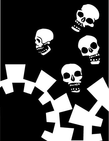 angel cemetery: Four Skulls Falling into mechanical gears.
