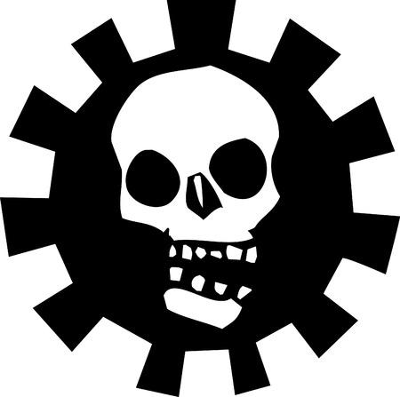 angel cemetery: Skull in Mechanical Gear #2