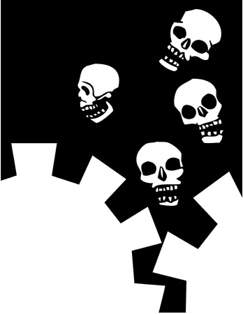 Four Skulls Falling into mechanical gears. Vector