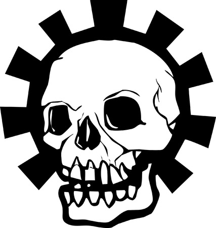 Human Skull with a halo of a mechanical gear.