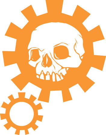 gears: Human Skull with a halo of a mechanical gear.