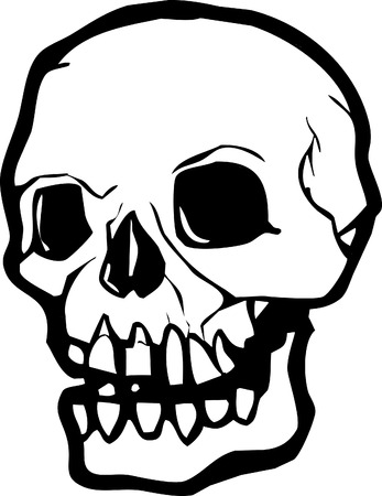 SiSimple image of a human skull in black and white. Vector