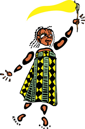 Girl in an african pattened dress holds a paintbrush. Ilustração