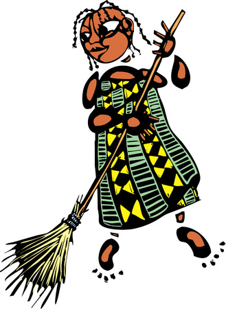 Girl in an african pattened dress with broom
