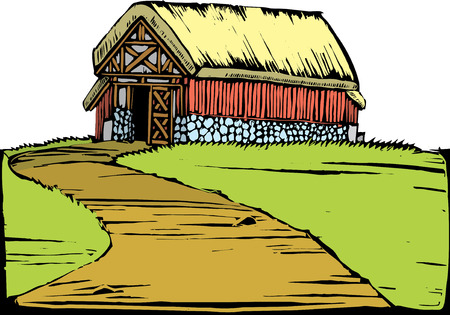 scratchboard: Scratchboard image of a red barn with a turf roof sitting on a hill. Illustration