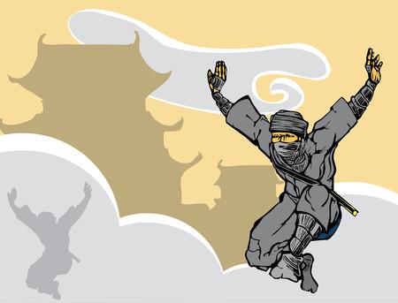 Ninja saltando attraverso la nebbia nei pressi di un castello giapponese. Archivio Fotografico - 5107389