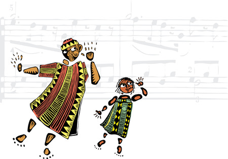 Father and daughter in African patterned clothes listen to music.