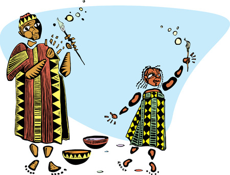 Father and daughter in african patterned clothes and paintbrushes.