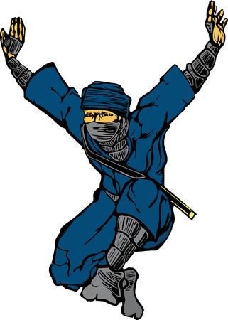 Isolated image of single leaping ninja. Vector