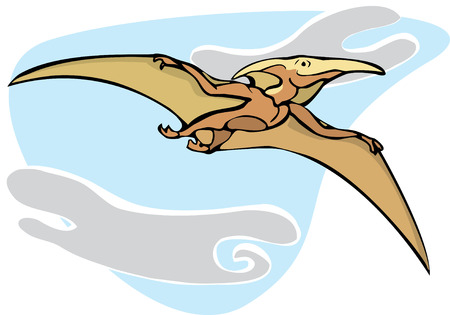pterodactyl: Pterodactyl dinosaur flying overhead in the Clouds. Illustration