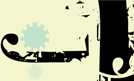 Modernisy style background with gears and african patterning.