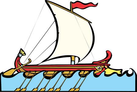 trireme: Greek Sailing Warship Illustration