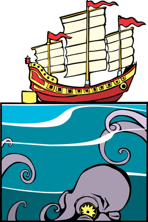 Chinese Junk and Octopus Stock Vector - 5139651