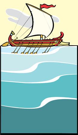 trireme:  Greek Sailing Warship sailing in narrow layout.