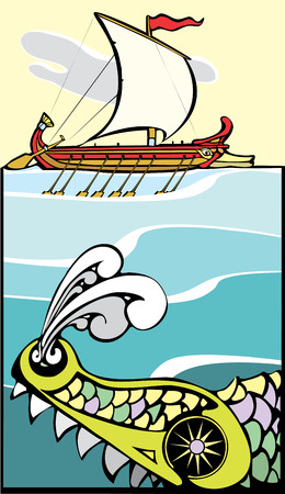 Greek ship being threatened by a sea monster.