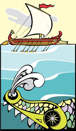 sparta: Griechisches Schiff durch ein Seeungeheuer bedroht.