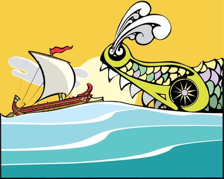 odyssey: Greek ship being eaten by a sea monster. Illustration