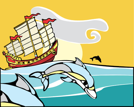 Chinese Junk sailing with a pod of dolphins nearby. Vector