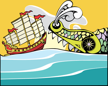 junk: Chinese Junk being threatened by a huge sea monster.