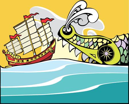 Chinese ongewenste bedreigd door een enorme zee monster.