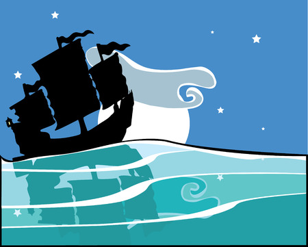 Chinese Junk sailing at night with reflection on the water. Stock Vector - 5150190