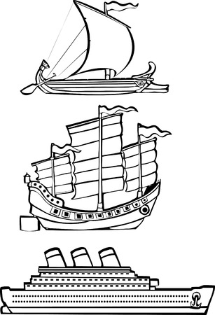 grecian: three simple ships from history illustrated in black and white.