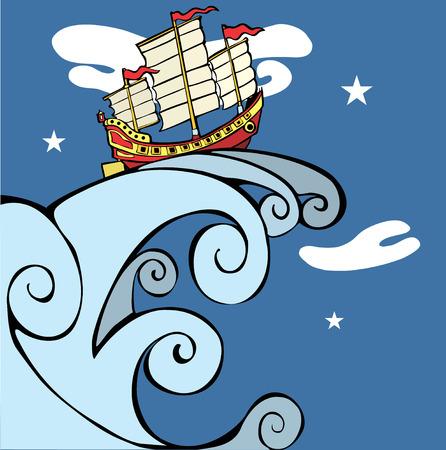 ship wreck: Chinese Junk on a Tsunami. Illustration