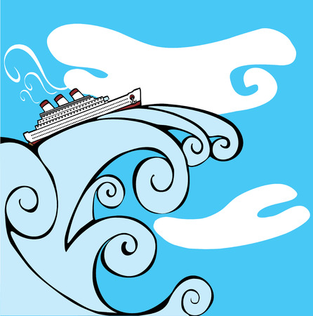 Cruise Ship riding on the cresting wave of a tsunami. Vector