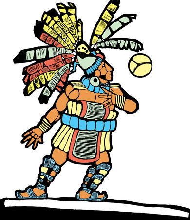 Mayan Ballplayer designed after Mesoamerican Pottery and Temple Images. Vector