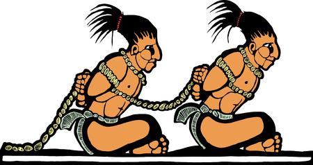 esclavo: Mayas prisioneros diseñados a partir de cerámica mesoamericana y templo de imágenes.