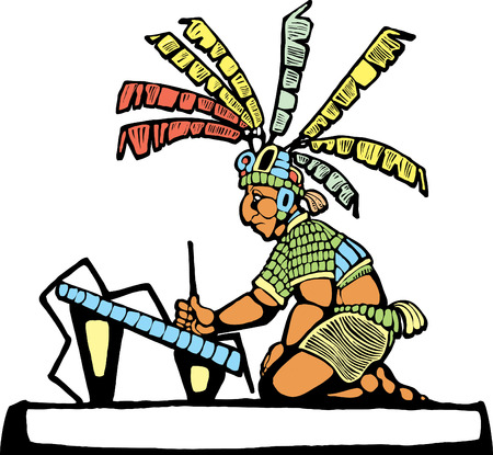 Mayan Scribe designed after Mesoamerican Pottery and Temple Images. Vector