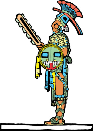 Mayan warrior designed after Mesoamerican Pottery and Temple Images. Ilustrace