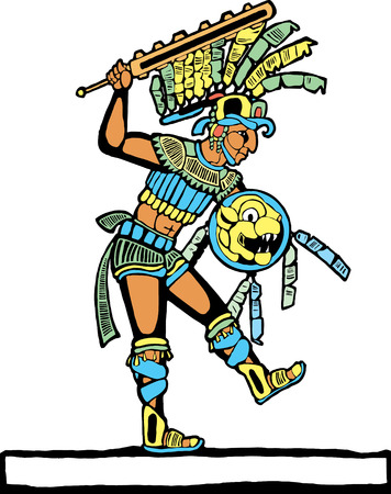 Mayan warrior designed after Mesoamerican Pottery and Temple Images. Vettoriali