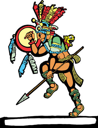 Mayan warrior designed after Mesoamerican Pottery and Temple Images. Illustration