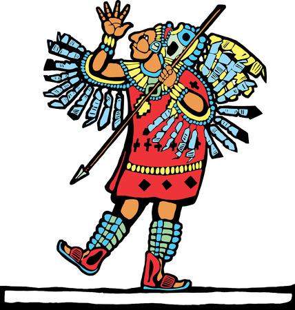Mayan warrior designed after Mesoamerican Pottery and Temple Images. Ilustração