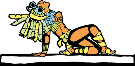 mesoamerican: Mayan warrior fallen in battle designed after Mesoamerican Pottery and Temple Images. Illustration