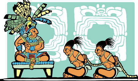 mesoamerican: Mayan King on throne looks over war prisoners.