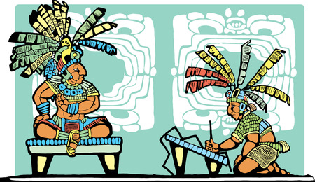 Mayan King on throne being recorded by scribe. Vector