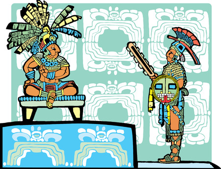 Mayan King on throne speaks to a warrior in full regalia. Vector