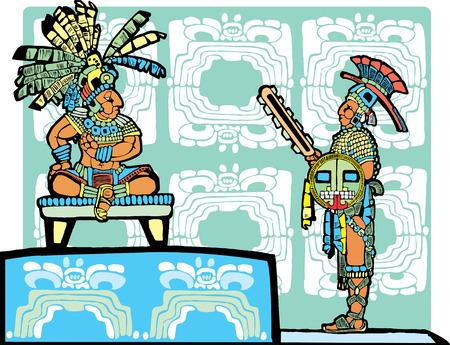 Mayan re sul trono parla un guerriero in piena regalia. Vettoriali