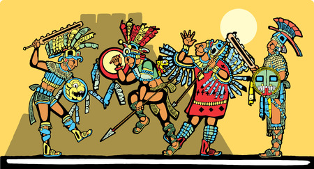 Battle for sacrifices inspired by Mayan Murals Vector