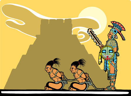 Mayan prisoners being guarded before being sacrificed. Vector