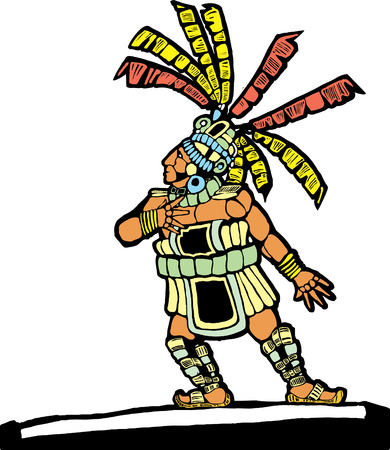 mesoamerican: Mayan Ballplayer designed after Mesoamerican Pottery and Temple Images.