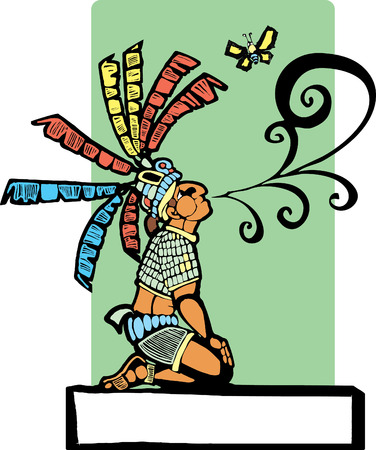Mayan storyteller with speech scroll coming from his mouth and butterfly. Vector