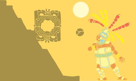acolchado: Jugador de pelota maya en el �nico juego de pelota mesoamericano dise�ado despu�s de Cer�mica y las im�genes del Templo.