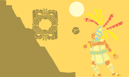 mesoamerican: Single Mayan Ballplayer in ball court designed after Mesoamerican Pottery and Temple Images. Illustration