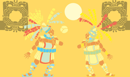 Two Mayan Ballplayers in ball court designed after Mesoamerican Pottery and Temple Images. Vector