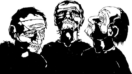 fascism: Three men with their eyes and mouths stitched shut.